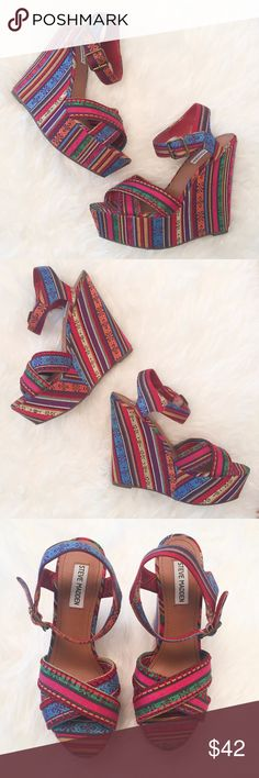 "STEVE MADDEN WINONNA Wedge Ankle Strap Sandals "" STEAVE MADDEN ""      WINONNA     Ankle Strap     Wedge Heels (6"")     Retail Price : $99.95  Size :8.5 M  Excellent used condition.  Please see the pictures.  Thank you for looking my item. Please check out my other items. Steve Madden Shoes Wedges"