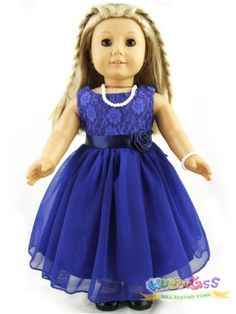 "Doll Clothes for 18"" American Girl Handmade Little Blue Dress Party Dress"
