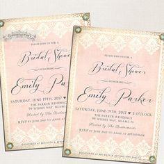 Blush Pink Bridal Shower Invitations Vintage Lace Gold and BLING Formal High Tea Luncheon Brunch Digital Printable File or Printed No.780