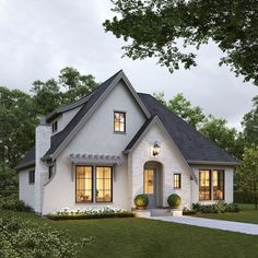 Large Floor Plans, Small House Plans, Tudor House Exterior, Exterior Design, Future House, Bungalow, Beautiful Homes, Building A House, House Design