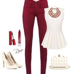 Dark red and white