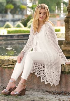 Cato Fashions Look & Dresses : Street Serenity Crochet Tunic Pattern, Crochet Coat, Crochet Blouse, Crochet Clothes, Summer Work Outfits, Casual Summer Dresses, Festival Coats, Lace Cardigan, Handmade Clothes
