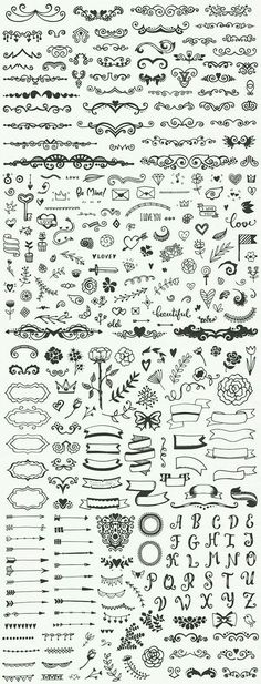 Drawing Doodle Easy Hundreds of fancy and easy bullet journal decorations and planner doodles, DIY drawing ideas, notebook sketching Icon Design, Bullet Journal Inspiration, Drawing Tips, Drawing Ideas, Drawing Flowers, Plant Drawing, Drawing Drawing, Doodle Art, Doodle Images
