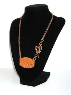 viking chain, copper, hand sawed, heart toggle, asymmetrical, necklace, tag