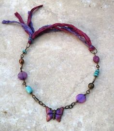 Just for Me necklace in the Lima Beads Design Gallery - great use of the Sari Silk #Vintaj