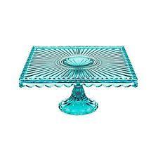 Loire Glass Square 7.75 inch Cake Stand - Blue