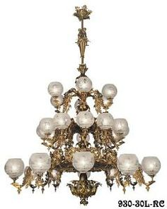 """Victorian Chandelier Recreated Gaslight Neo Rococo 3 Tiers with 30 Lights (930-30L-RC) 930-30L-RC has 30 arms on three tiers with a diameter of 68"""" for a total of 30 lights. This large 30-Light chandelier is our newest neo-rococo creation from the Mid-Victorian gasolier era.  Our inspiration was taken from our antique Starr-Fellow's catalog and our vault-preserved samples from 1857.  We believe we have engineered a truly fine lighting fixture, based on historical record."""