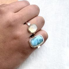 Beautiful Larimar set in a classic double bezel, this piece displays a great dreamy pattern.... Larimar Rings, Gemstone Rings, Rounded Rectangle, Jewelry Showcases, Raw Gemstones, Black Spinel, Contemporary Jewellery, Jasper, Turquoise
