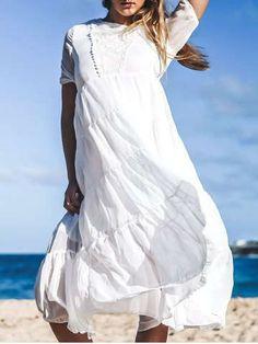 3d5f2c8c028 Bohemian Jewel Neck Short Sleeves Maxi Dress For Women