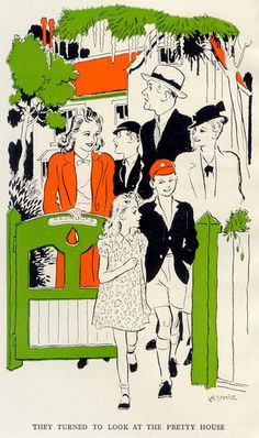 'The Family at Red-Roofs', written by Enid Blyton - Frontis from the 1st edition, illustrated by W. Spence.