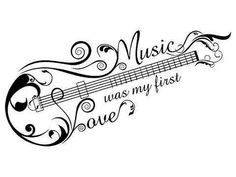 Music was my first love. music tattoo idea shaped as a guitar/bass, Tattoo, Music was my first love. music tattoo idea shaped as a guitar/bass. Love Music Tattoo, Music Tattoo Designs, Music Tattoos, Body Art Tattoos, Tatoos, Music Symbol Tattoo, Music Designs, Music Symbols, Music Drawings