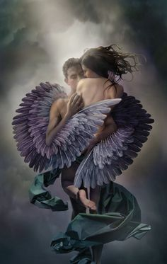"art by John Blumen. ""Angel put sad wings around me now."""