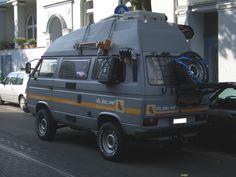 in the street Vw Bus, Vw T3 Camper, Off Road Camper, Rv Campers, Happy Campers, Transporter T3, Volkswagen Transporter, Volkswagen Bus, Motorhome