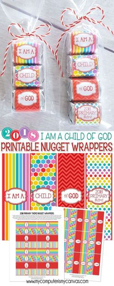 2018 Primary Theme Printables - I am a Child of God Nugget Wrappers, great birthday gift or baptism handout, lds printables for primary #mycomputerismycanvas