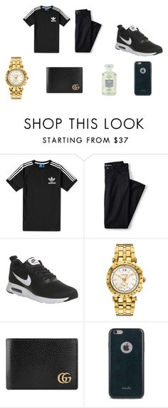 """""""Night Out"""" by jasmin198 ❤ liked on Polyvore featuring adidas, Lands' End, NIKE, Versace, Gucci, Moshi, Creed, men's fashion and menswear"""