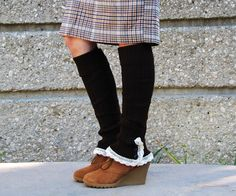Women/teen lace boot sock leg warmers with ruffle, knee high, fall, winter fashion, brown and cream with buttons. $29.99, via Etsy.