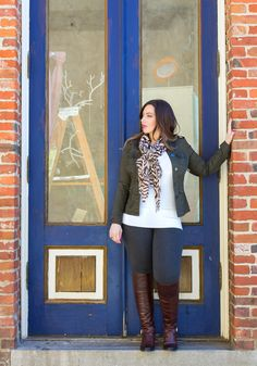 """go to fall outfit for the curvy women <3 Military Jacket, V-Neck White Sweater, Scarf, Jeggings, Brown Boots #thick   """"if you like my curvy girl's fall/winter closet, make sure to check out my curvy girl's spring/summer closet.""""   http://pinterest.com/blessedmommyd/curvy-girls-springsummer-closet/pins/"""