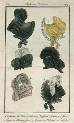1818 - Hüte Hauben, Zeichnungen, Regentschaft Kleid, Regency Epoche, Bonnet  Hut, 508f8a63b24