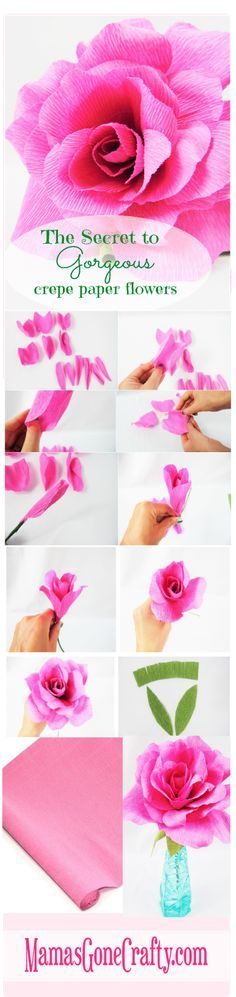 Learn the secrets to perfect crepe paper flowers. Crepe paper rose tutorial and rose petal templates.