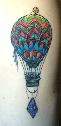 Hot Air Balloon by Katie Shocrylas in Vancouver, BC Dream Tattoos, Future Tattoos, New Tattoos, Body Art Tattoos, Cool Tattoos, Tatoos, Pretty Tattoos, Unique Tattoos, Beautiful Tattoos
