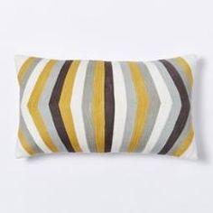 Crewel Optic Stripe Cushion Cover - Horseradish
