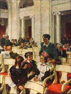 Корнеев Б. Школьники на концерте в Ленинградской филармонии