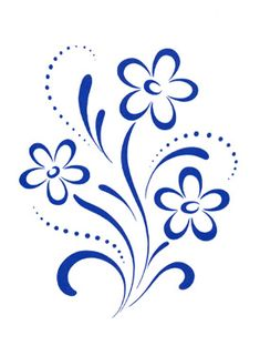 Blue Country Floral Decal