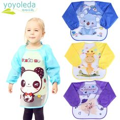 Cute Cartoon Toddler Baby Kid Warm Fleece Long Sleeve Self Feeding Art Bib Apron