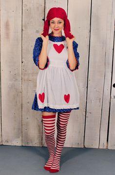 Raggedy Ann Costume/Adult Raggedy Ann Costume/Handmade Vintage Raggedy Ann Costume/Halloween Costume Romq7