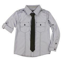 Boys' Button Down Shirt w/ Tie Button Downs, Button Down Shirt, Boy Outfits, Raincoat, Tie, Boys, November Pictures, Jackets, Clothes