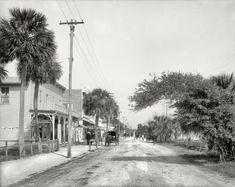 "#Florida circa 1904. ""Beach Street, Daytona."" Note the early Coca-Cola sign on Burdine's Pharmacy."