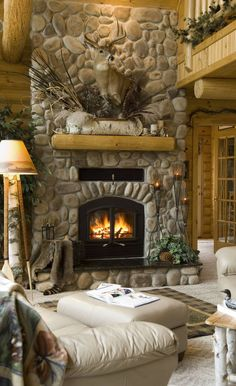 handcrafted log home - great room