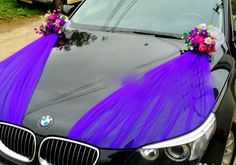 In this album, there are various options for decorating cars with ribbons, tulle ...