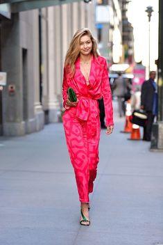 Gigi Hadid à la Fashion Week printemps-été 2018 à New York septembee 2017