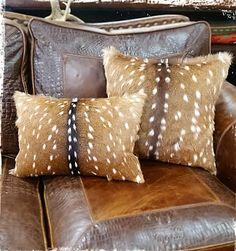 Amos Ranch Axis Deer Hide Pillows - Genuine Hair-on-Hide Throw Pillows