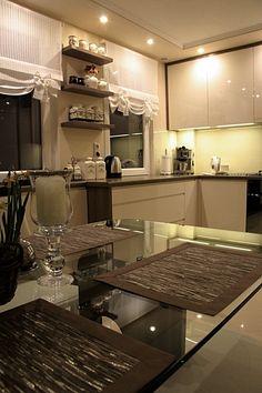 Kitchen Design, Kitchen Decor, Window Dressings, Window Treatments, Blinds, Windows, Interior Design, Table, Room