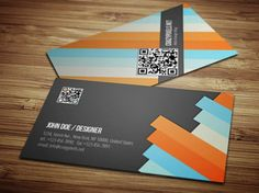 Striped business card template PSD