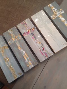 Cross paintings on 4x12 canvas by Jenn Meador. Email to order jennmeadorpaint@gmail.com