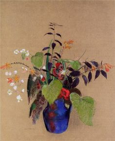 Flowers in a Blue Jug Artist: Odilon Redon Completion Date: c.1910 Style: Realism Genre: flower painting Technique: pastel Material: paper G...