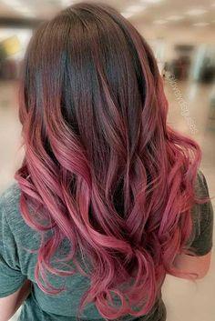 Hair dusty rose hair color, vivid hair color, gold hair colors, new Rose Hair Color, Vivid Hair Color, Gold Hair Colors, Ombre Hair Color, Dark Ombre Hair, Ombre Sombre, Dark Pink Hair, Balayage Hair, Haircolor