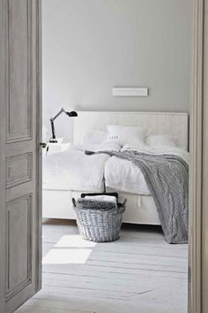 white + gray, want my bedroom like this but with some sort of red abstract art above the bed