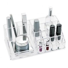 Haven't organized your beauty products yet? From now on this is possible with the Fashion Makeup Organizer with 16 compartments. This make-up organizer will significantly ease the make-up process by keeping your eyes on your . Makeup Display, Cosmetic Display, Cosmetic Storage, Makeup Storage, Makeup Organization, Organization Station, Storage Hacks, Clear Acrylic Makeup Organizer, Make Up Organizer