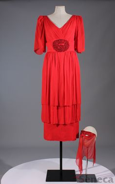 1970s Claire Haddad dress with mask