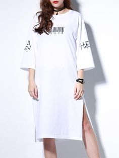 Shop Tunics - White Slit H-line Cotton 3/4 Sleeve Tunic online. Discover unique designers fashion at StyleWe.com.