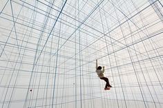 Created by Croatian-Austrian collective Numen/For Use, String Prototype is a design for an inflatable volume containing a network of cables that can be explored similar to a jungle gym.