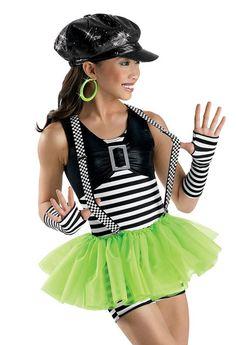 Hip Striped Vested Tutu Biketard; Weissman Costume