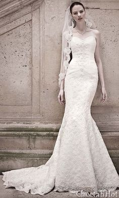 David's Bridal - Sweetheart Beaded Lace Trumpet Gown