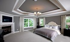 Master Bedroom Drop Ceiling  sw-dovetail paint color for living room!