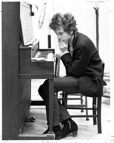 "Bob Dylan, in the studio, recording ""Highway 61 Revisited."""