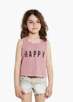 Striped cropped t-shirt   MANGO KIDS